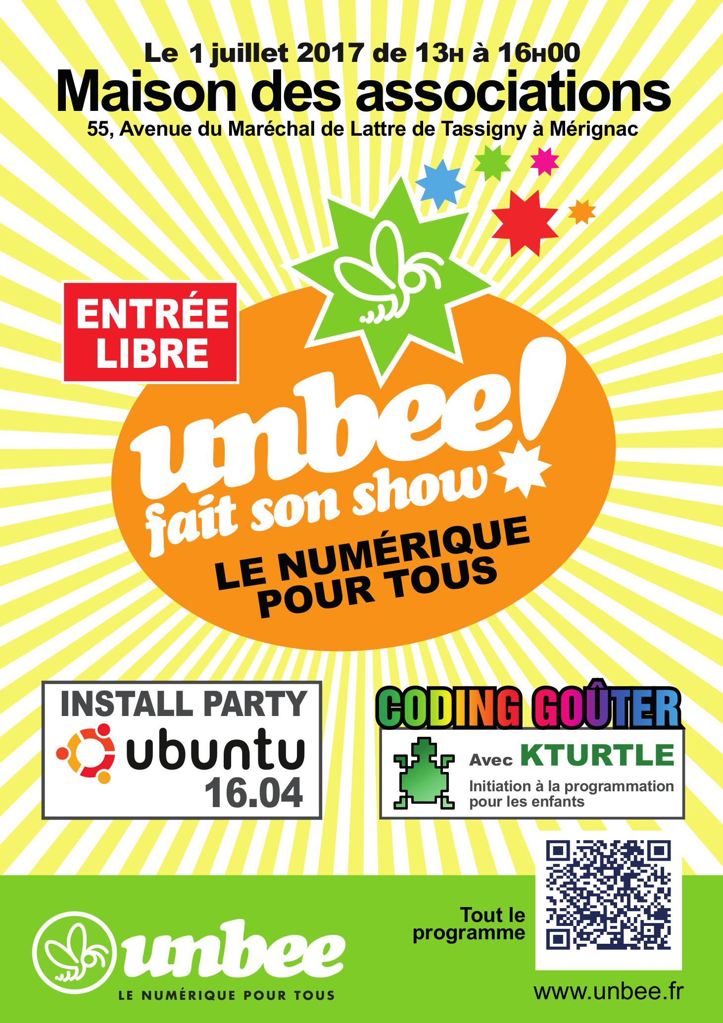 1/07 : Install party Ubuntu, Coding Gouter, partage et discussion sur le LIBRE