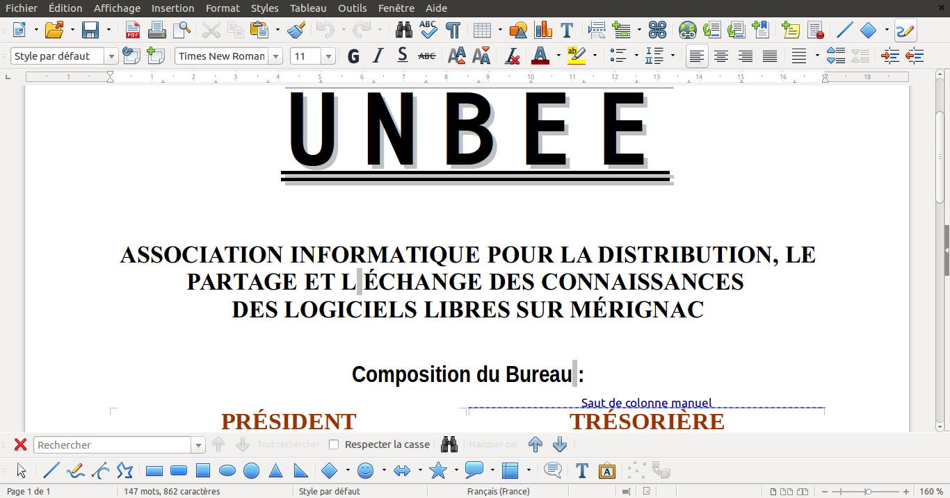 Atelier d'initiation à LibreOffice, le  mardi 11 juillet